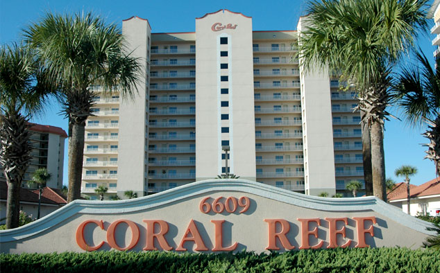 a photo of our beautiful condominiums on Thomas Drive in Panama City Beach