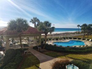 View of the patio, the beach and the Gulf of Mexico