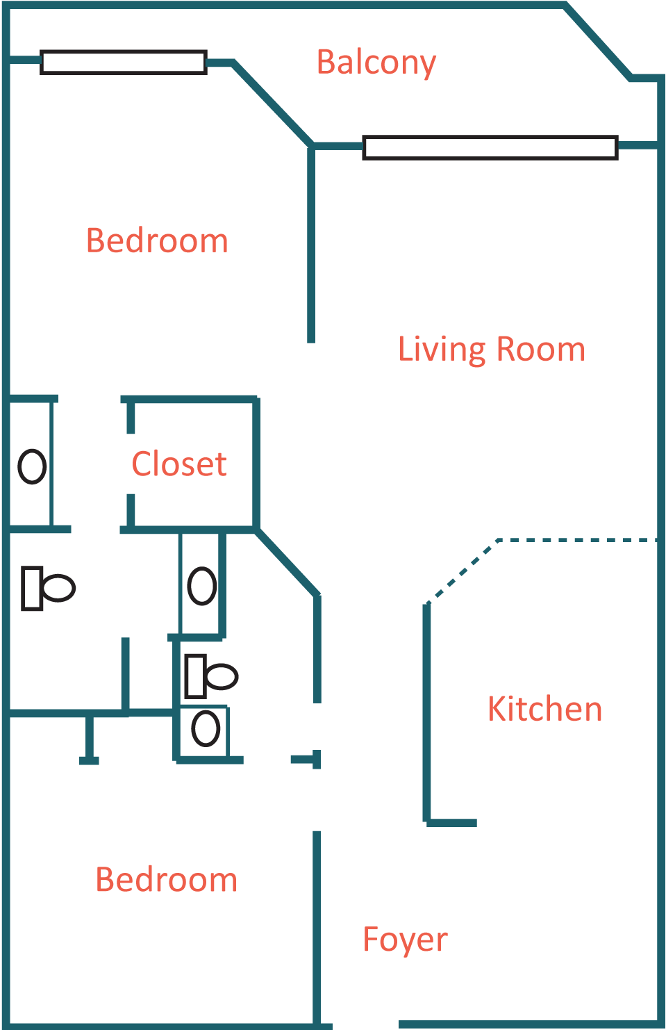 2 Bedroom Floor Plan Layout at Coral Reef Condos in PCB FL