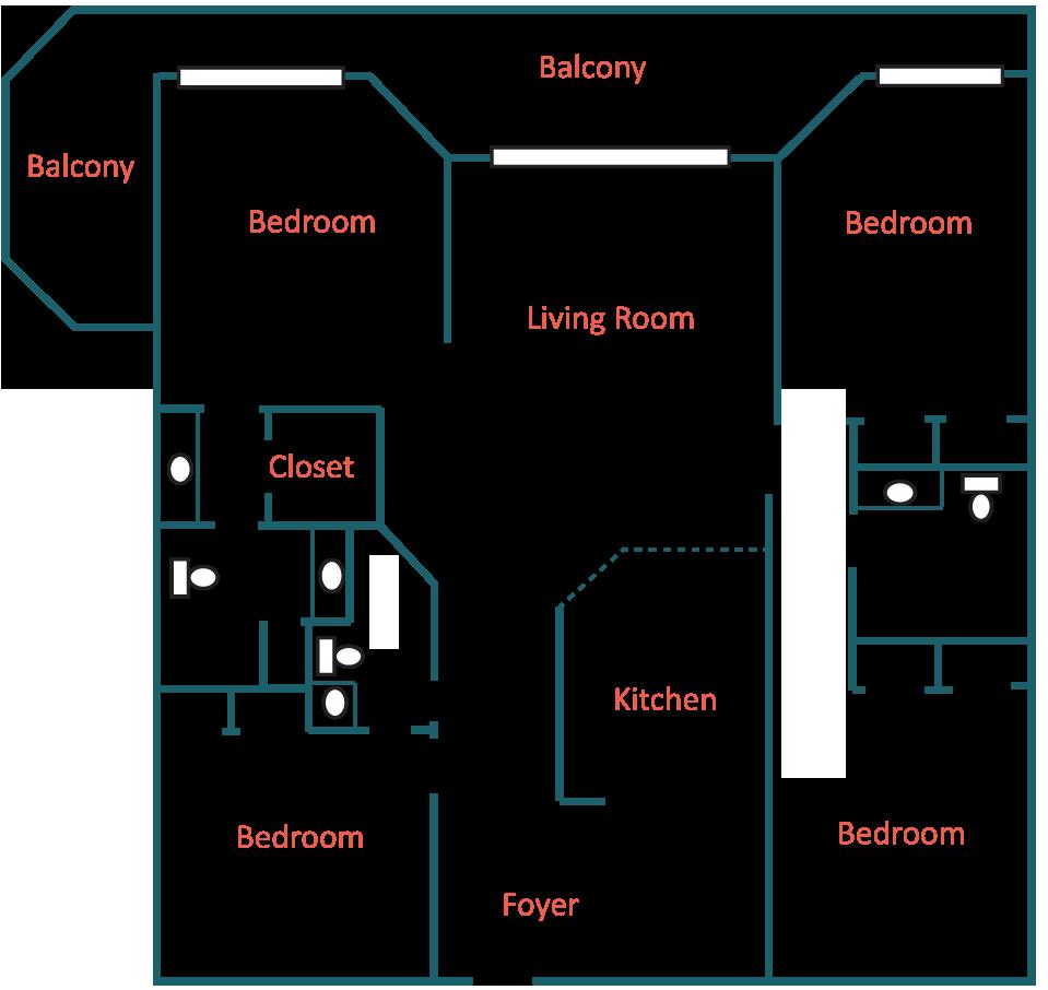 4 Bedroom Floorplan Layout at Coral Reef Condos in Panama City Beach, Florida
